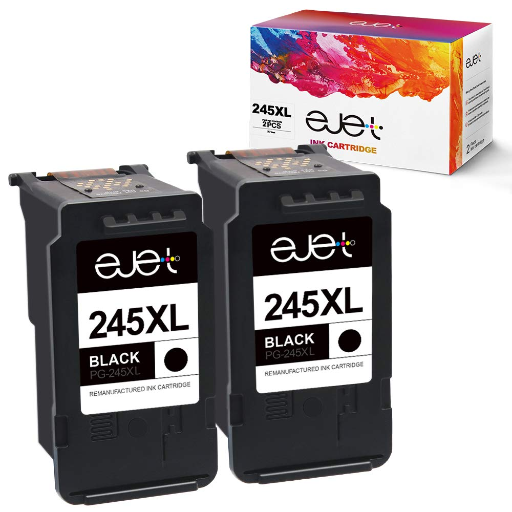 ejet Remanufactured Ink Cartridge Replacement for Canon 245XL PG-245XL PG245XL PG-243 to use with PIXMA MX492 TR4520 MX490 MG3022 MG2522 MG2920 MG2420 MG2520 MG2922 MG2924 (2 Black) Shows Ink Level