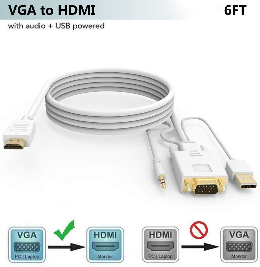 VGA to HDMI Adapter/Converter Cable White Color 6FT with Audio,1080P,Convert VGA Source (PC) in HDMI Connector (TV/Monitor), Active Male VGA-HDMI Out Lead Video Cord for Computer,Laptop,Projector