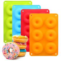 STEFORD 4PCS Silicone Donut Pan Mold Non-Stick 6-Cavity Silicone Bagel Pan Mold Set for Baking,BPA Free