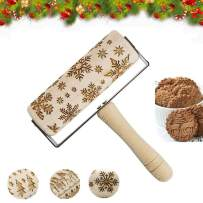 Christmas Wooden Embossed Rolling Pins 3D Hand Grip Engraved Rolling Pin for Cookies With Snowflake Pattern for Baking For Kids and Adults
