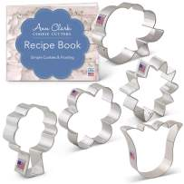 Ann Clark Cookie Cutters 5-Piece Flower Bouquet Cookie Cutter Set with Recipe Booklet, LilaLoa's Rose, Sunflower, Tulip, Flower and Tree/Bouquet