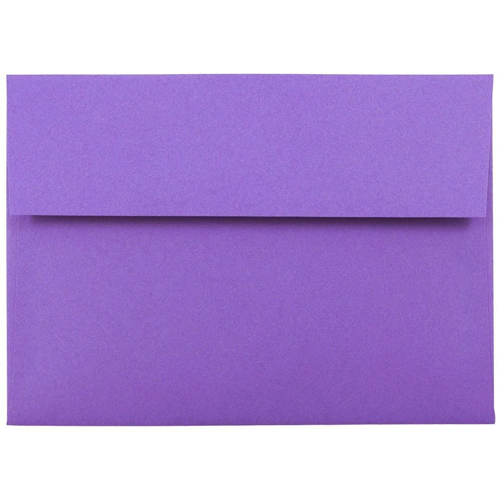 JAM PAPER A7 Colored Invitation Envelopes - 5 1/4 x 7 1/4 - Violet Purple Recycled - 50/Pack