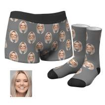 Men's Custom Face Boxer Shorts Novelty Briefs & Socks Printed with Wife's Photo on Christmas
