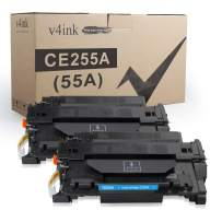 V4INK Compatible Toner Cartridge Replacement for HP 55A CE255A Toner Black for HP LaserJet P3010 P3015 P3015d P3015dn P3015n P3015x HP Enterprise 500 MFP M521dn M521dw M525c M525dn M525f Printer
