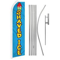 Infinity Republic - Shaved Ice Banner Swooper Flag & Pole Kit - Perfect for Farmers Markets, Fairs, Restaurants, Cafes, etc!