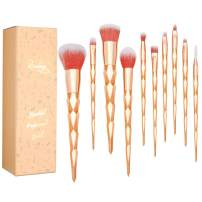 Qivange Unicorn Makeup Brush Set Gold Eyeshadow Brushes Kids Girls Children's Day Birthday Gifts for Cosplay Party Face Cosmetic Foundation Make up