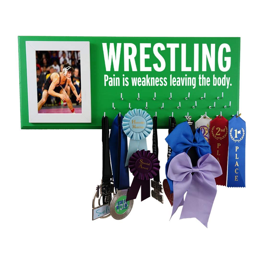 Wrestling Medal Display - Pain is WEKANESS Leaving The Body - Gift for Wrestler - Wrestling Awards Hanger - Wrestling Ribbons Plaque Hanger