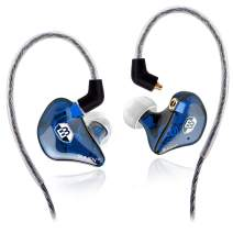 BASN High-Definition in Ear Monitor Headphones for Musicians with Detachable MMCX Earbuds; Dual Dynamic Drivers and Noise-Isolating (Blue)