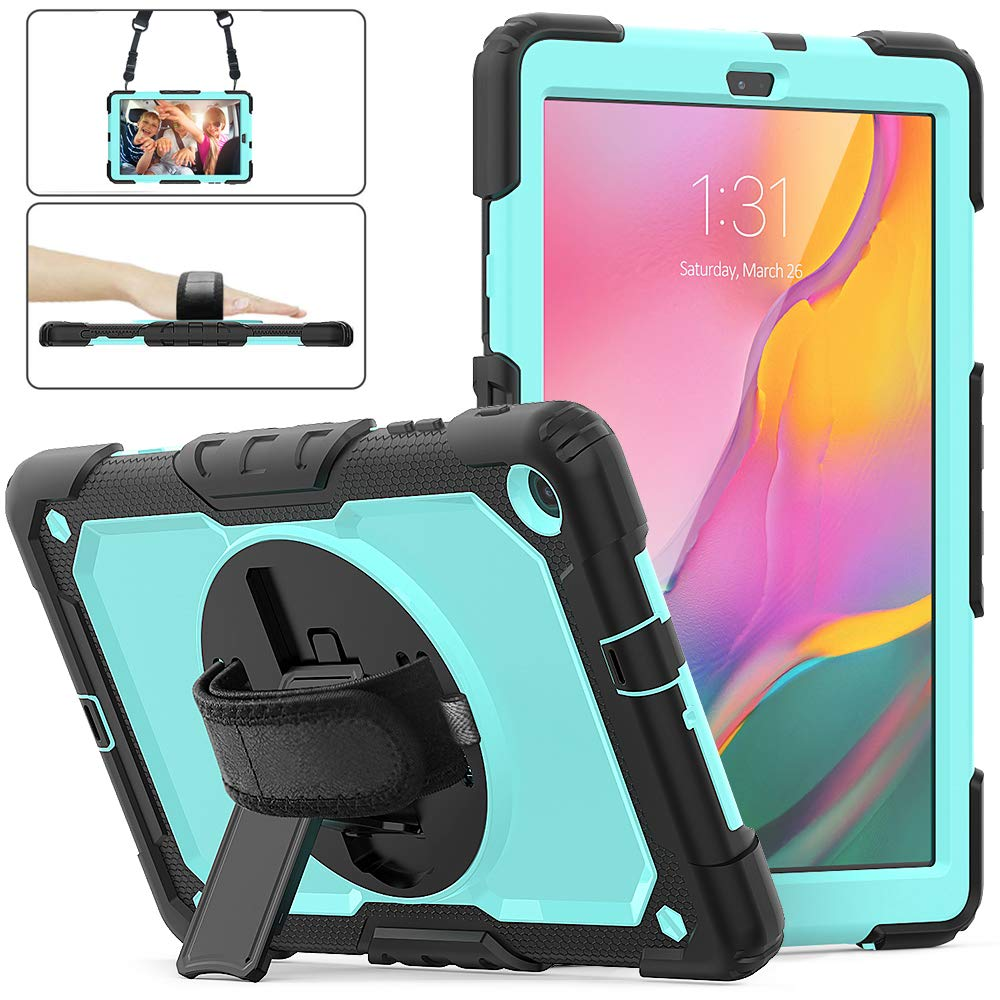 Herize Galaxy Tab A 10.1 Case 2019 with Screen Protector, High Impact Resistant Drop Proof Armor Protective Case with Hand Strap/Shoulder Strap/Rotable Stand Kids Case for SM-T510/T515 Tablet-SkyBlue