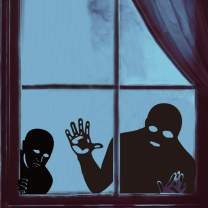 Ivenf Halloween Decorations Window Clings Decor, Scary Peeper Creeper Black Silhouettes Halloween Creepy Stickers, School Home Office Party Supplies, 4 Sheets Bunny Chorus Stickers