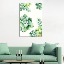 "wall26 Canvas Wall Art Succulent Plants Series - Watercolor Succulents Plants on White Background - Giclee Print Gallery Wrap Modern Home Decor Ready to Hang - 16"" x 24"""
