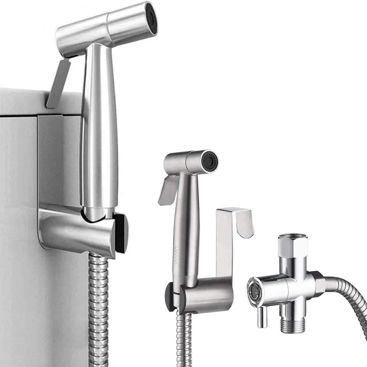 JAKAGO Handheld Bidet Toilet Seat Sprayer Bathroom Shower Sprayer Baby Diaper Cloth Washer, Stainless Steel Bathroom Spray with Adjustable Pressure Control for Personal Hygiene,Pet Shower