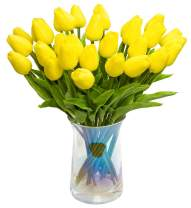 JOEJISN 30pcs Artificial Tulips Flowers Real Touch Yellow Tulips Fake Holland PU Tulip Bouquet Latex Flowers for Wedding Party Office Home Kitchen Decoration (Yellow)