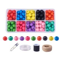 PandaHall Elite About 160 Pcs Dyed Round Wood Beads Wooden Loose Spacer Beads 10 Colors with Elastic Cord, Jute Cord, Scissors for Jewelry Making DIY Handmade Craft
