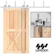 WINSOON 4FT-18FT Modern Sliding Bypass Barn Door Hardware 304 Stainless Steel Double Doors Kit Cabinet Closet System Silver (10FT Bypass Hardware Kit)