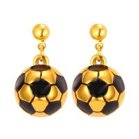 Women Stainless Steel/18K Gold Plated Soccer Ball Earrings