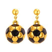 Women Stainless Steel/18K Gold Plated Soccer Ball Earrings