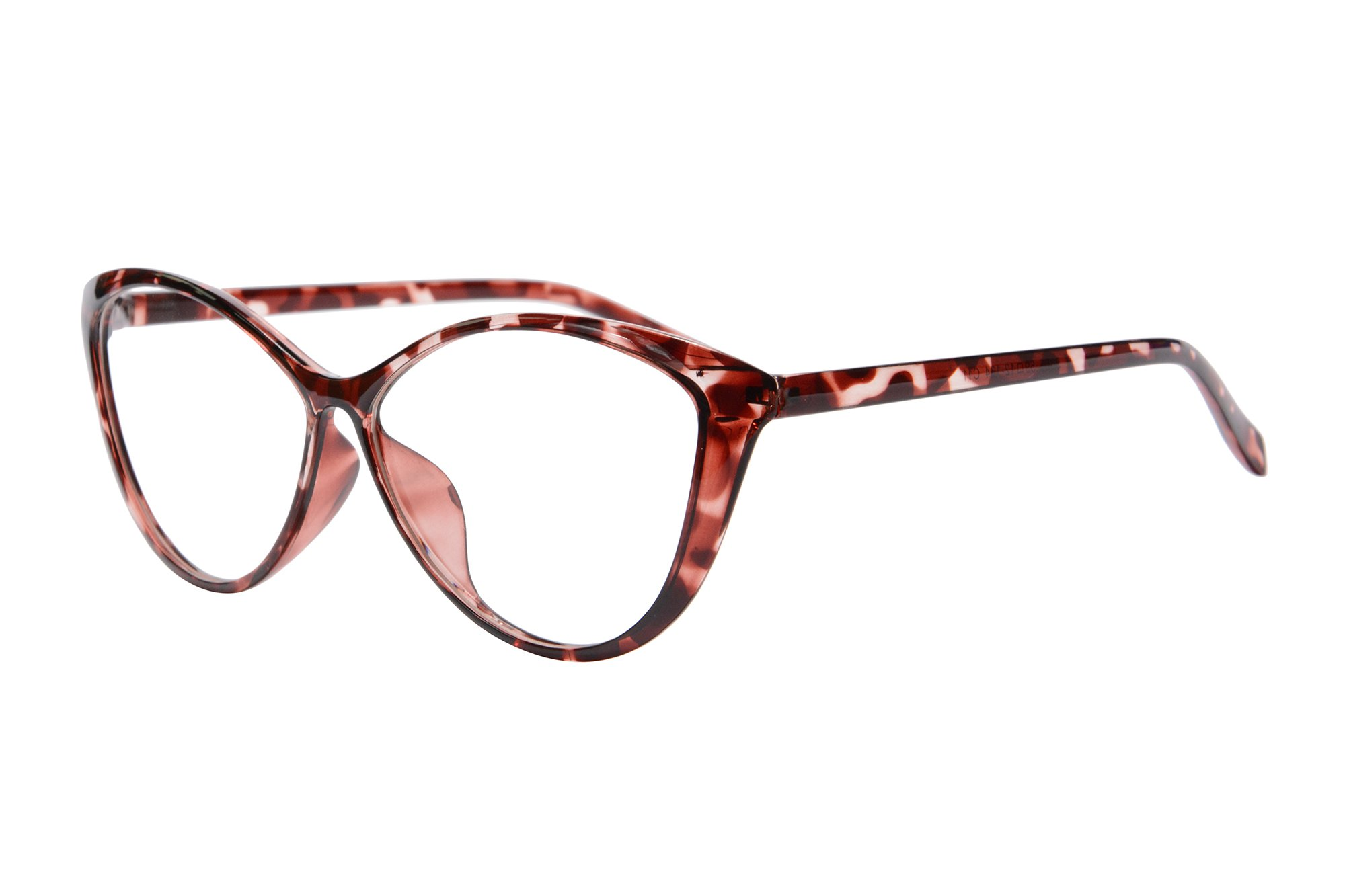 Ladies Cateye Glasses Frames Blue Blocking Clear Lens Computer Reading Glasses-5865(demi red, anti blue light up 0.5 down 3.50)