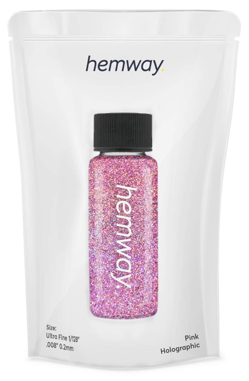 """Hemway Glitter Tube 12.8g / 0.45oz Extra Chunky 1/24"""" 0.04"""" 1MM Premium Sparkle Gel Nail Dust Art Powder Makeup Pigment Eyeshadow Face Body Eye Cosmetic Safe-(Pink Holographic)"""