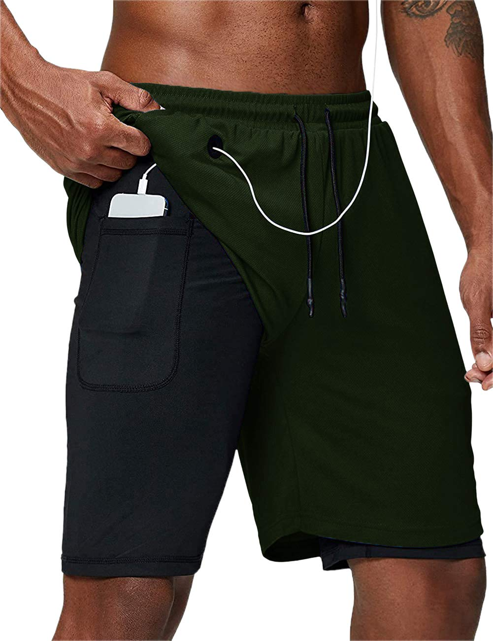 Makkrom Mens Running 2 in 1 Shorts Workout Athletic Gym Short with Pockets