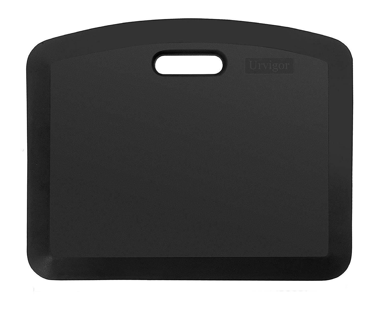 Urvigor Office Standing Desk Mat, Not-Flat Anti Fatigue Mat Small Comfort Mats for Stand Up Desk or Adjustable Desk Riser, Ergonomically Engineered (18x22x3/4-Inch, Black)