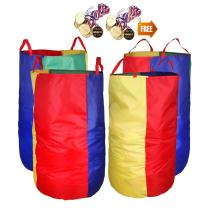 "Potato Sack Race Bags 34""Hx17""W(Pack of 4) with Game Prizes(12Pcs) for Children and Adults,High Quality,Bright Colors,No Smell, A Perfect Outdoor Games for Birthday Parties,Family Reunions"