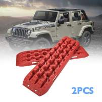 DEFEND INDUST Traction Tracks 2 pcs Red traction boards for Off-Road Mud, Sand,Snow Vehicle Extraction Track Tire Ladder 4X4 Traction mat