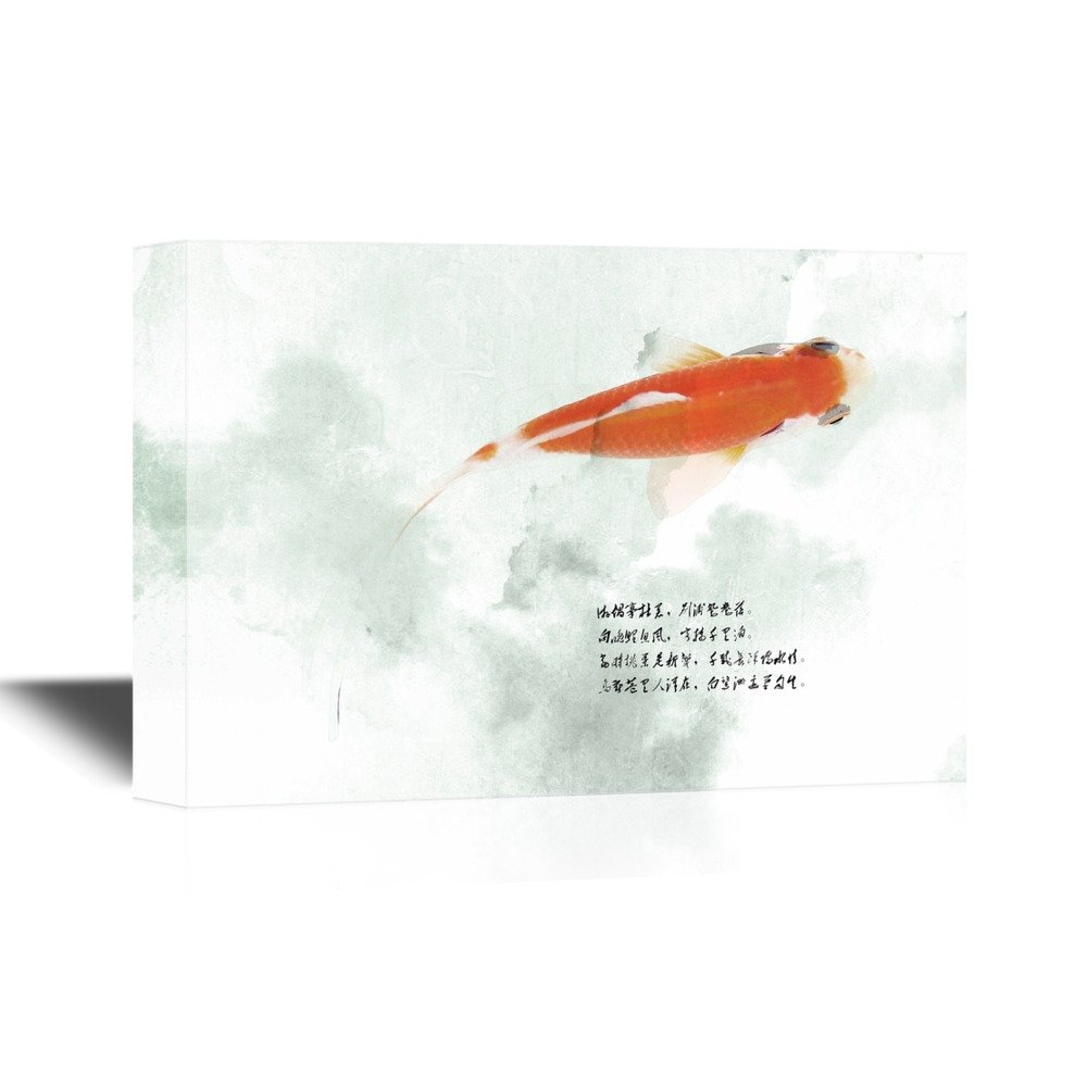 wall26 - Canvas Wall Art - Red Golden Fish with Chinese Poet on Watercolor Style Background - Gallery Wrap Modern Home Decor   Ready to Hang - 12x18 inches