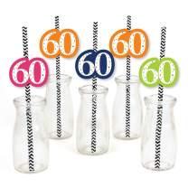 60th Birthday - Cheerful Happy Birthday - Paper Straw Decor - Colorful Sixtieth Birthday Party Striped Decorative Straws - Set of 24