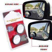 "HTTMT 3R062-2 Pcs Universal 2"" Round Angle Rear Side View Blind Spot Mirror Compatible with Car"