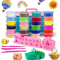 top4cus Air Dry Clay, 24 Colors Modeling Clay for Kids, Non-Toxic and Eco-Friendly, Creative Art DIY Handcraft Polymer Clay, Ultra-Light Clay Sets with Tools for Children and Teenagers