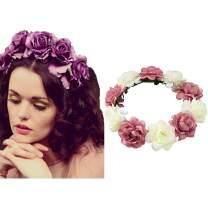 Edary Boho Rose Flower Wreath Wedding Garland Headpiece Seaside Floral Crown Hair Accessories for Women and Girls. (Pink1)