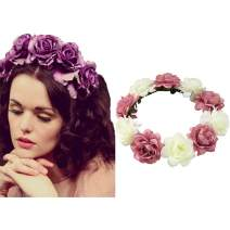 Edary Boho Rose Flower Wreath Wedding Garland Headpiece Seaside Floral Crown Hair Accessories for Women and Girls. (Pink1)
