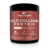 Multi Collagen Protein Powder Hydrolyzed (Type I II III V X) Grass-Fed All-in-One Super Bone Broth + Collagen Peptides - Premium Blend of Grass-Fed Beef, Chicken, Wild Fish, Eggshell Collagen