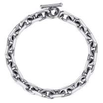 Trendsmax Classic Stainless Steel Toggle Clasp Charm Oval Rolo Cable Curb Cuban Wheat Bracelet Link Chain 7-11 Inch