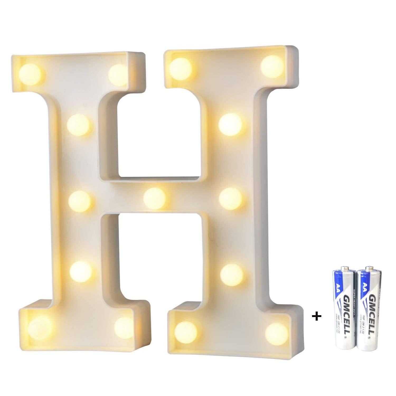 bemece LED Alphabet Letter Lights, Marquee Decorative Warm Plastic Light up Sign (Battery Included)- Letter H