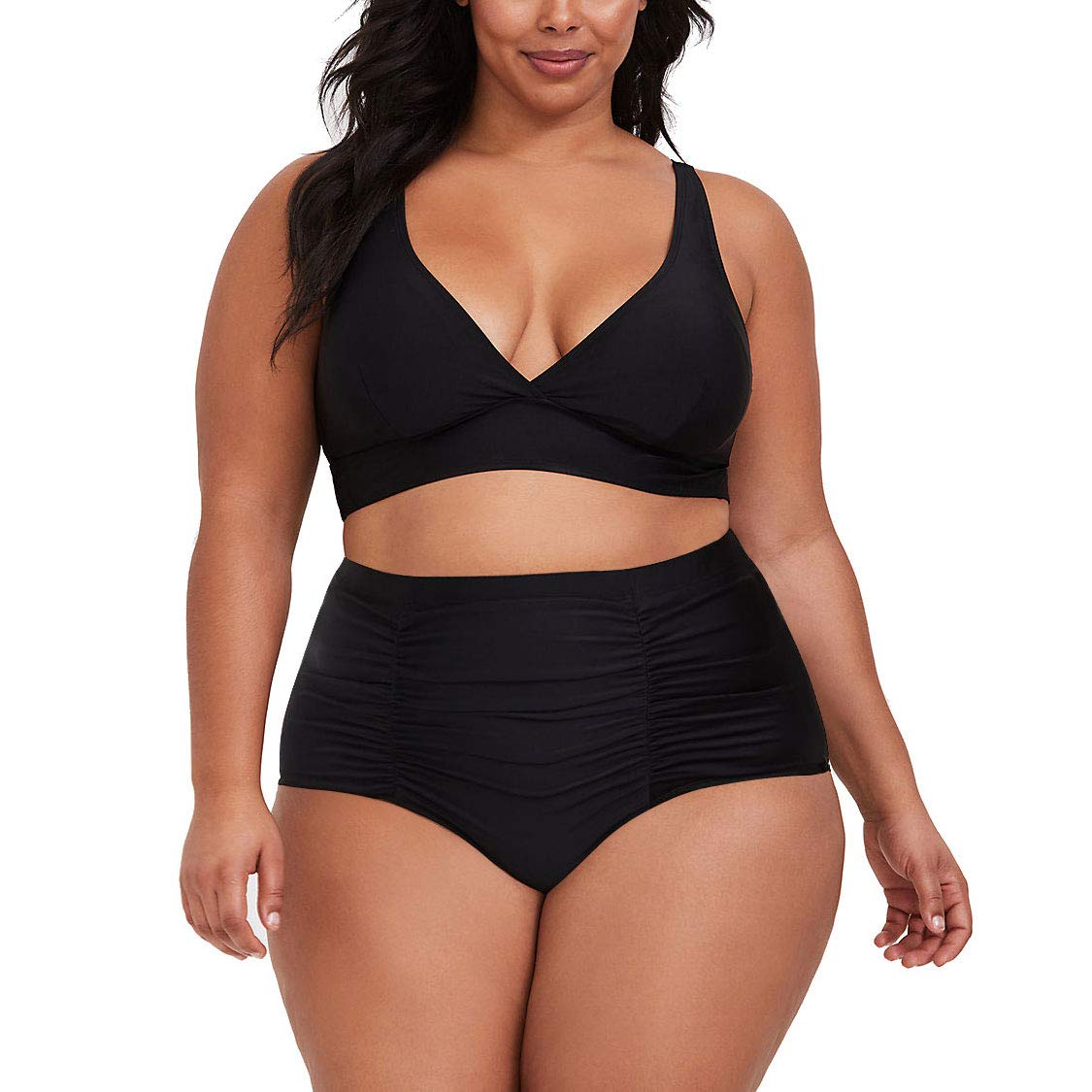 Kisscynest Women's Plus Size High Waist Ruched Swimsuit Swimwear Bathing Suit