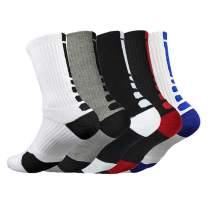 Mens Cushioned Basketball Socks Athletic Crew Socks Long Sports Outdoor Socks Compression Socks, 5 Pack