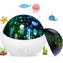 Aedo Night Light Projector, Ocean Undersea Lamp and Starry Sky Projector,360°Rotational LED Night Light Projector with 8 Light Modes for Kids Gifts Baby Bedroom Decoration (White)