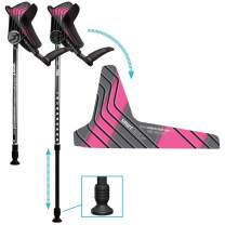 smartCRUTCH Racer Series Forearm Crutch 15-90 Degree Rotation - 2 Ergonomic Walking Aids, Adjustable 4'4-6'7 Adult Athlete Elderly Injury/Disability, Mobility Support - Large, Pink