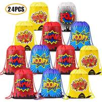 Superhero Party Bags Favors, Superhero Party Gift Goody Bags Drawstring Bags For Superhero Theme Kids Birthday Party Supplies Decorations Set of 24(4 Colors)