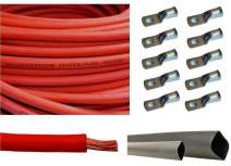 "WNI 6 AWG 6 Gauge 10 Feet Red Battery Welding Pure Copper Ultra Flexible Cable + 5pcs of 5/16"" & 5pcs 3/8"" Copper Cable Lug Terminal Connectors + 3 Feet Heat Shrink Tubing"