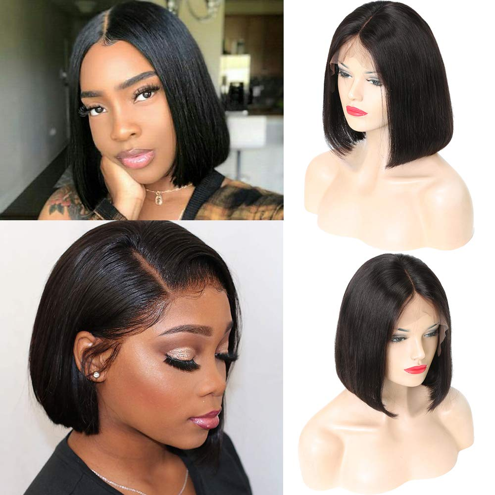 Lace Front Bob Wigs for Women, Straight Bob 100% Human Virgin Hair 13x6 Lace Frontal Hand Made Natural Hairline with Baby Hair Silk Top Pre Plucked Wigs 8 Inch Natural Black Color