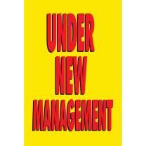 HALF PRICE BANNERS | Under New Management Vinyl Banner-Indoor/Outdoor 3X2 Foot-Yellow | Includes Zip Ties | Easy Hang Sign-Made in USA