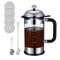 Coffee Maker HoneyGuaridan French Press Coffee 4 Level Filtration System, Stainless Steel with Measuring Glass - 1000 ml / 32 ounce / 8 cup / 1 liter