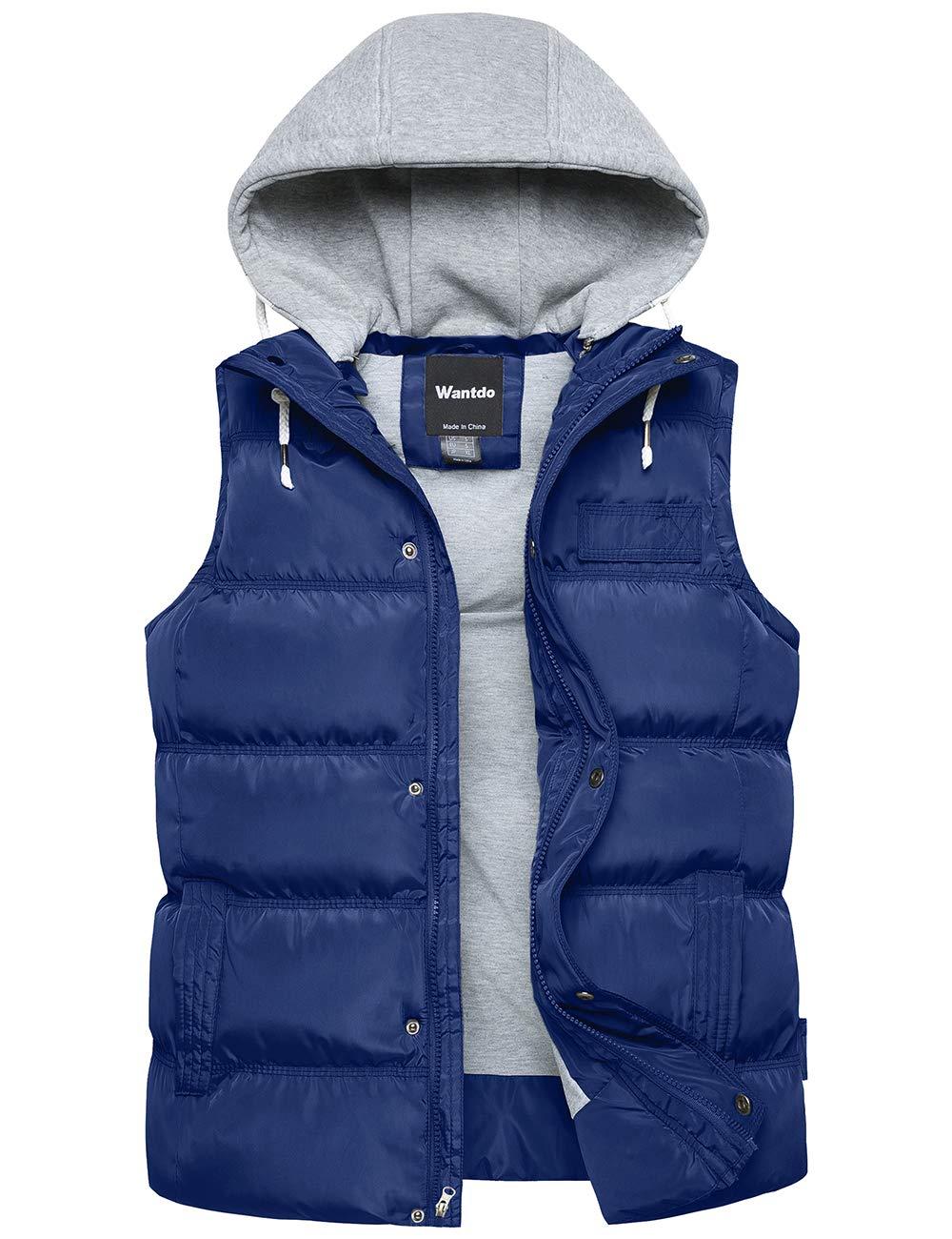Wantdo Men's Winter Puffer Vest Removable Hood Warm Sleeveless Jacket Gilet