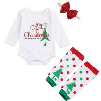 My First Christmas Newborn Baby Girl Outfits Christmas Tree Romper and Headhand with Leg Warmers Clothes Set