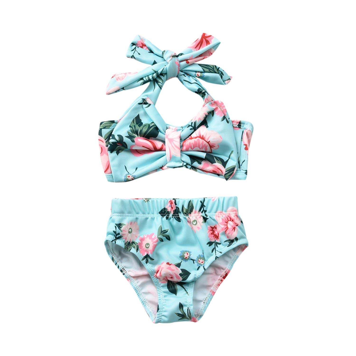 Baby Girl Two Piece Swimsuit, Toddler Girls Halter Bowknot Top Bikini Floral Bathing Suit