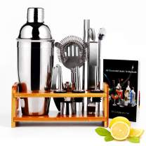WanderLand Cocktail Shaker Set with Bamboo Stand, 12 Pieces Cocktail Shaker Set Bartender Kit, 304 Stainless Steel Martini Shaker for Home&Bar, 550ml /19OZ Bar Tool Set with Recipe Booklet