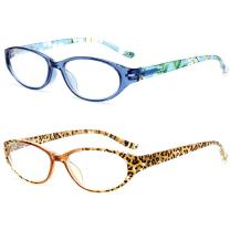 VEVESMUNDO Reading Glasses Spring Hinges Women Men Floral Small Oval Eyeglasses